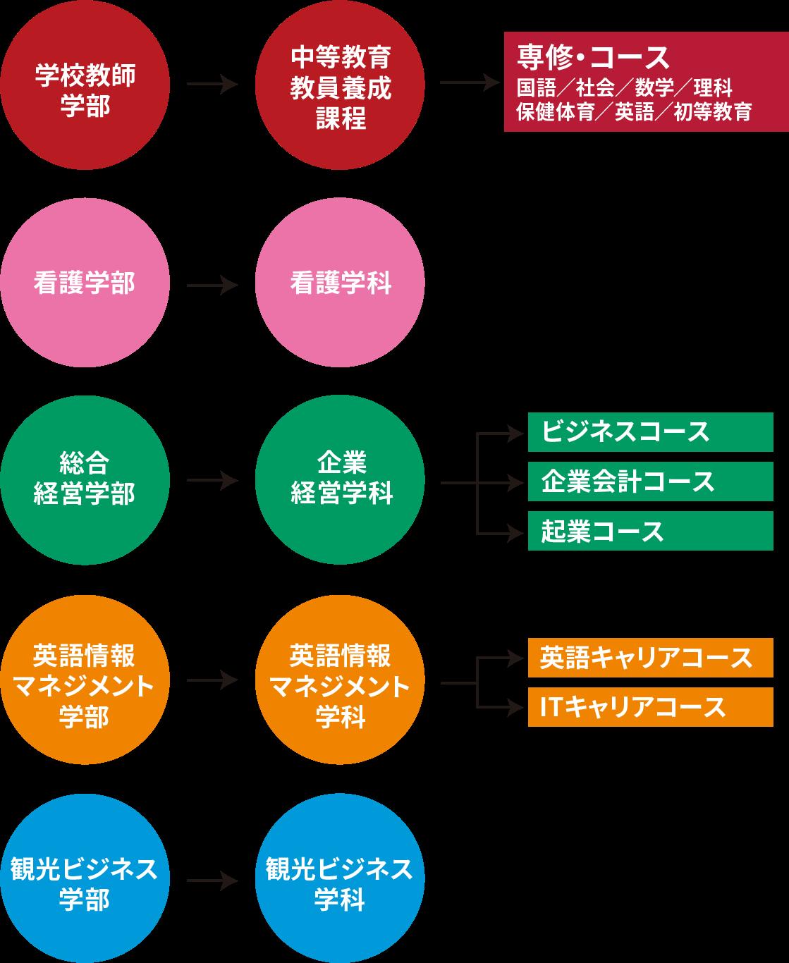 秀明大学の学部・学科・コースの概略図です。